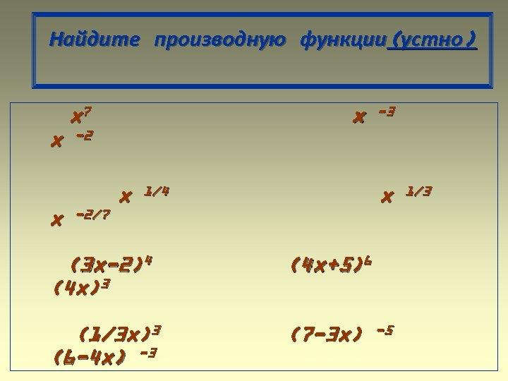 Найдите производную функции(устно) x 7 x x x -3 -2 -2/7 x x 1/4