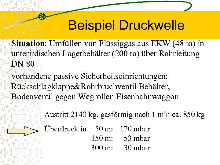 Beispiel Druckwelle Situation: Umfüllen von Flüssiggas aus EKW (48 to) in unterirdischen Lagerbehälter (200