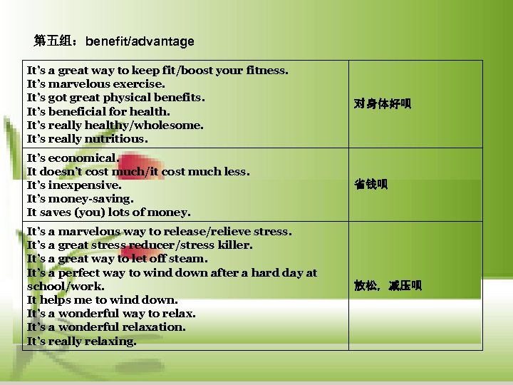 第五组:benefit/advantage It's a great way to keep fit/boost your fitness. It's marvelous exercise. It's