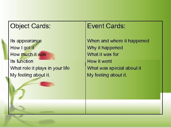 Object Cards: Its appearance How I got it How much it was Its function