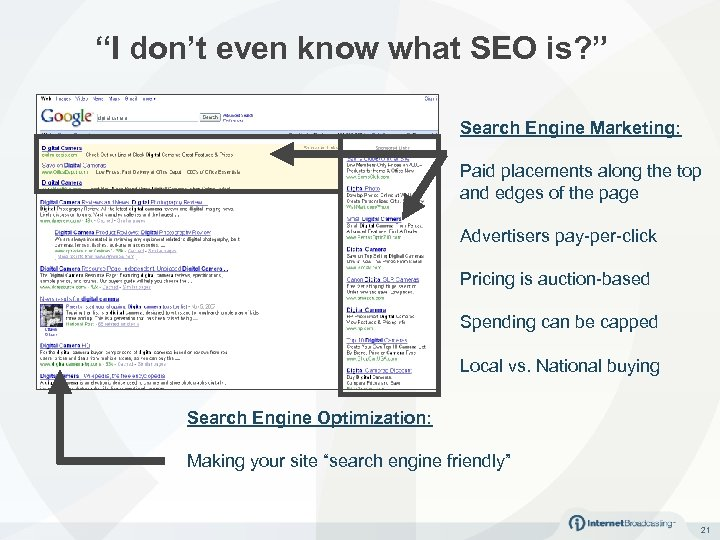 """""""I don't even know what SEO is? """" Search Engine Marketing: Paid placements along"""