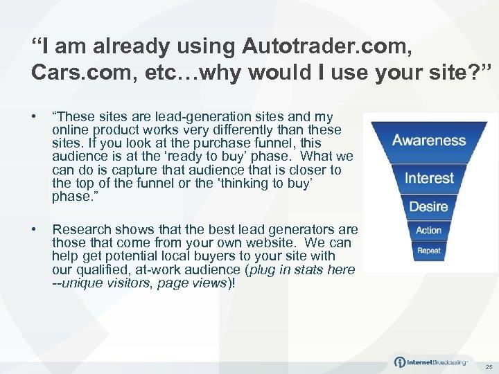 """""""I am already using Autotrader. com, Cars. com, etc…why would I use your site?"""