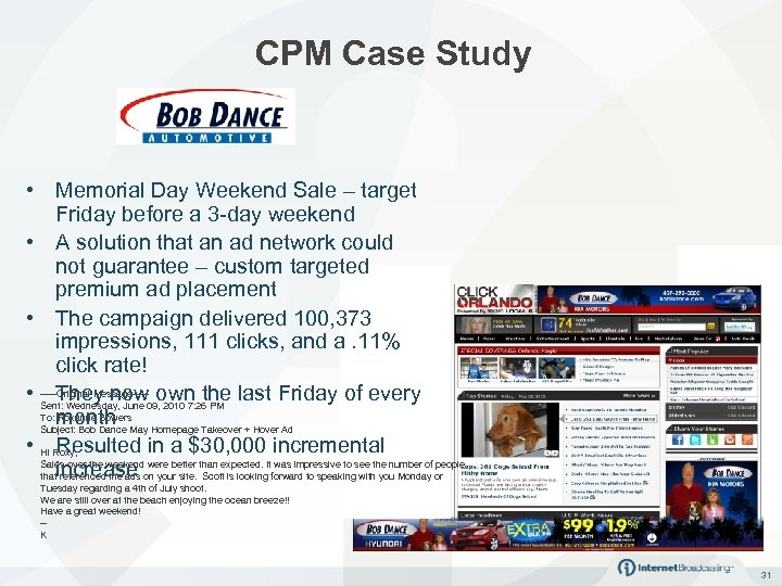 CPM Case Study • Memorial Day Weekend Sale – target Friday before a 3
