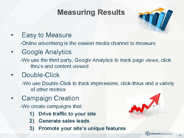 Measuring Results • Easy to Measure -Online advertising is the easiest media channel to