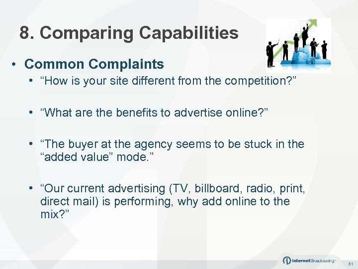 "8. Comparing Capabilities • Common Complaints • ""How is your site different from the"