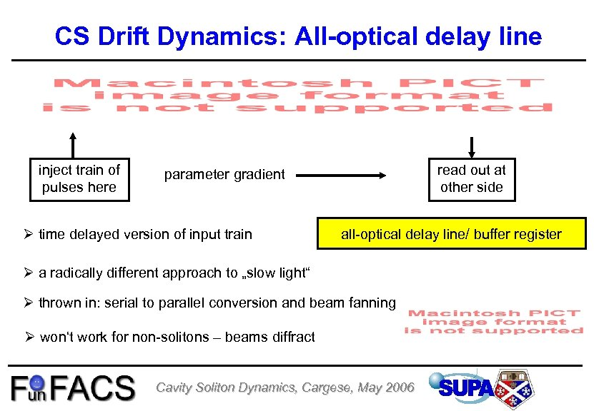 CS Drift Dynamics: All-optical delay line inject train of pulses here read out at