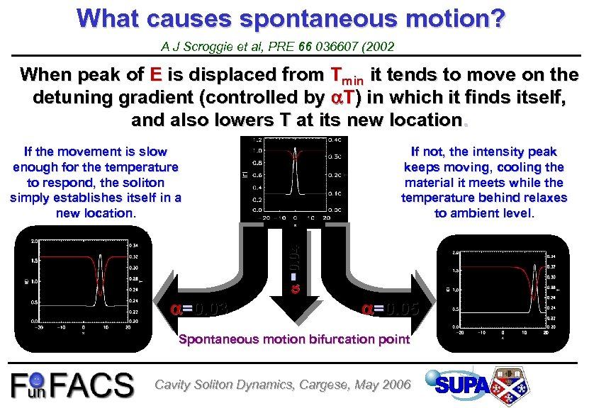 What causes spontaneous motion? A J Scroggie et al, PRE 66 036607 (2002 When