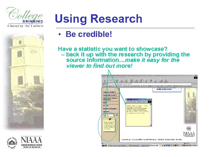 Using Research • Be credible! Have a statistic you want to showcase? – back