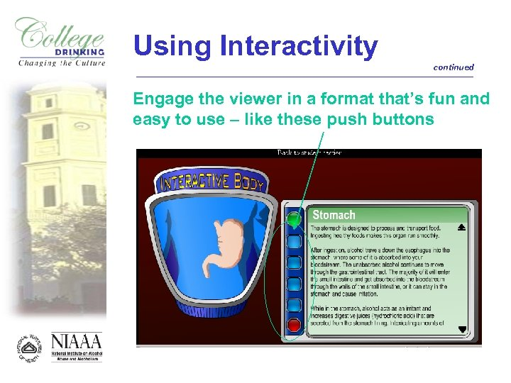 Using Interactivity continued Engage the viewer in a format that's fun and easy to