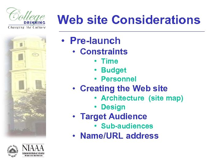 Web site Considerations • Pre-launch • Constraints • Time • Budget • Personnel •