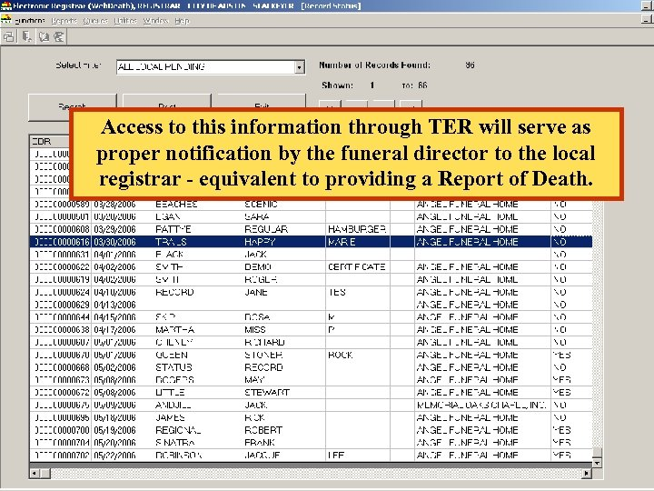 Access to this information through TER will serve as proper notification by the funeral