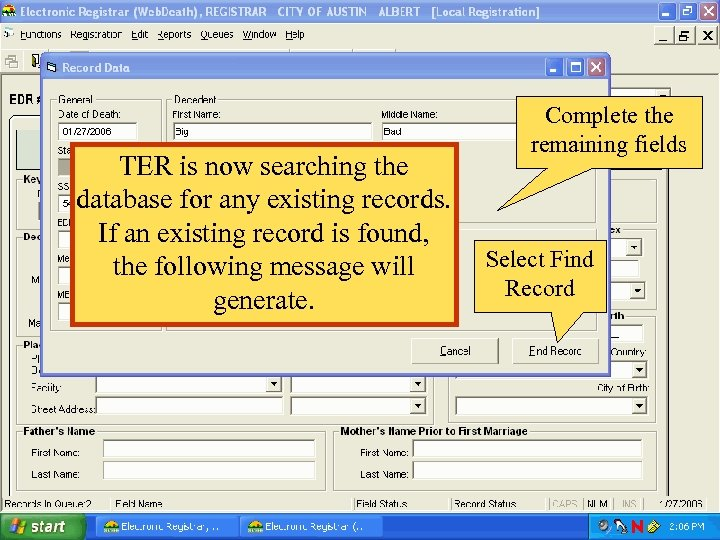 TER is now searching the database for any existing records. If an existing record