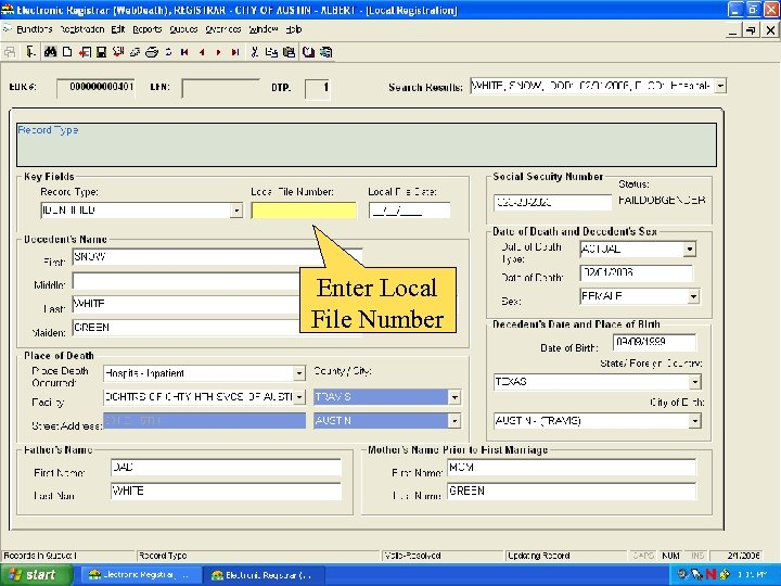 Enter Local File Number
