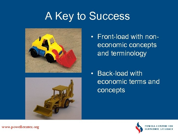 A Key to Success • Front-load with noneconomic concepts and terminology • Back-load with