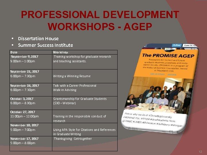 PROFESSIONAL DEVELOPMENT WORKSHOPS - AGEP • Dissertation House • Summer Success Institute Date September