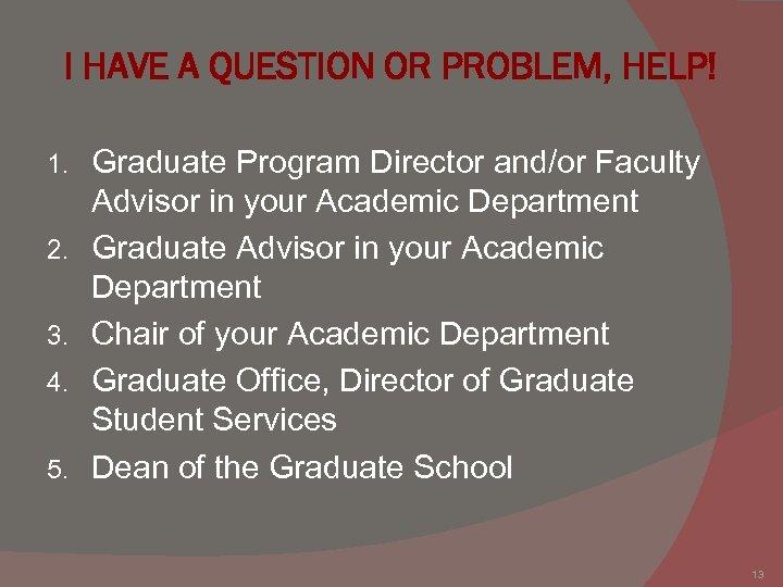 I HAVE A QUESTION OR PROBLEM, HELP! 1. 2. 3. 4. 5. Graduate Program