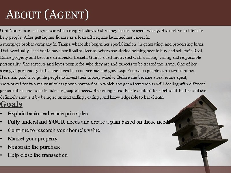 ABOUT (AGENT) Gini Nunez is an entrepreneur who strongly believe that money has to