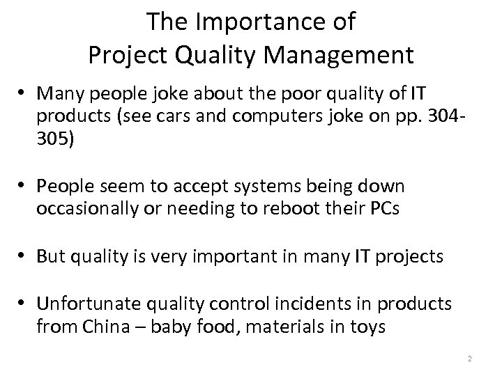 why is quality management important