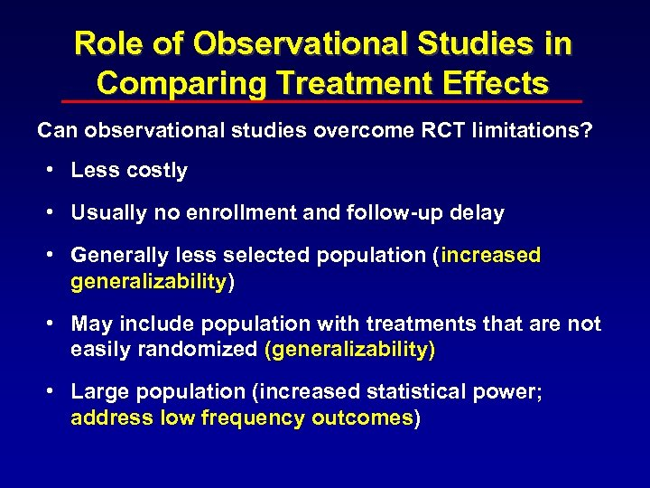 Role of Observational Studies in Comparing Treatment Effects Can observational studies overcome RCT limitations?