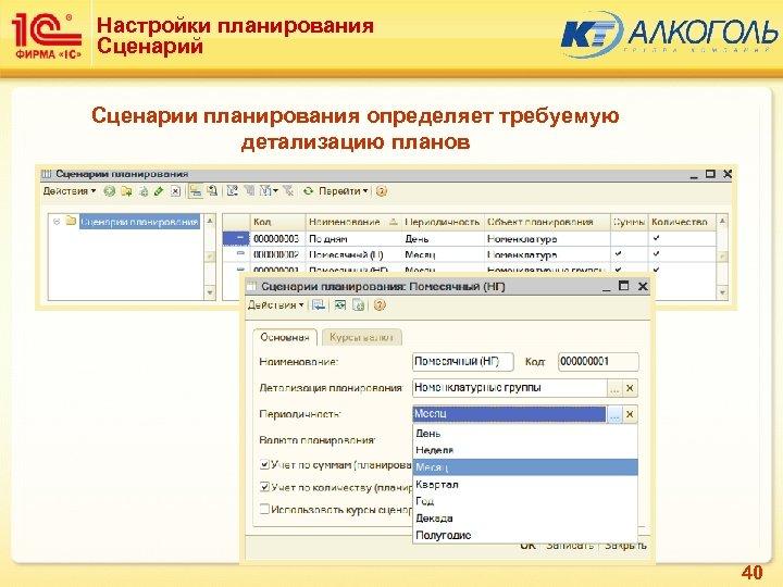 Настройки планирования Сценарий Сценарии планирования определяет требуемую детализацию планов 40