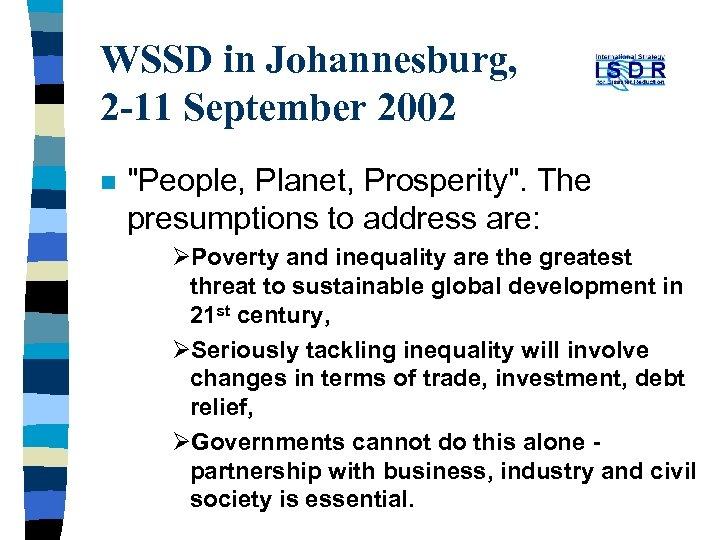 WSSD in Johannesburg, 2 -11 September 2002 n