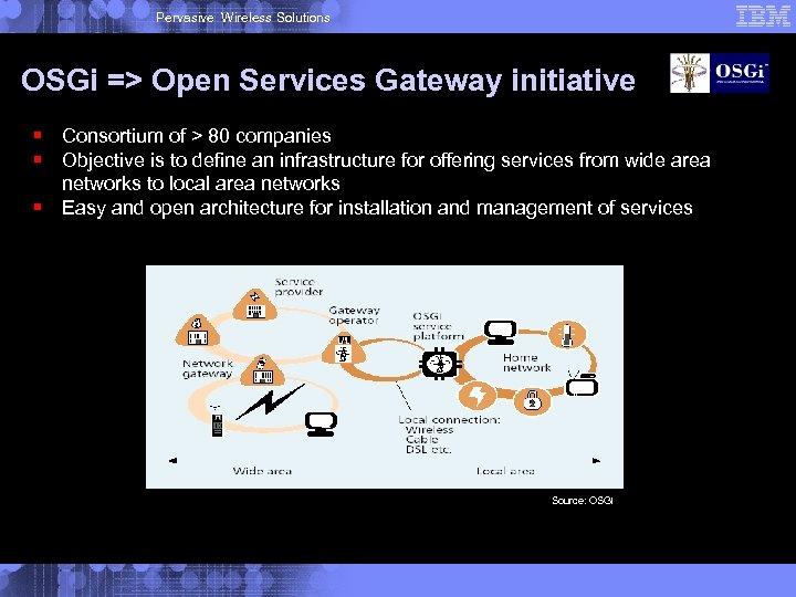 Pervasive Wireless Solutions OSGi => Open Services Gateway initiative § Consortium of > 80