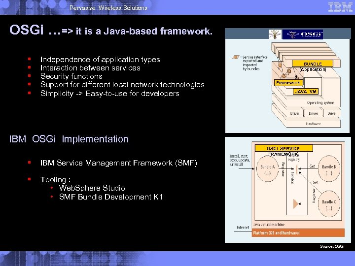 Pervasive Wireless Solutions OSGi …=> it is a Java-based framework. § § § Independence