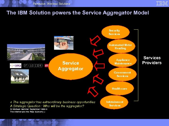 Pervasive Wireless Solutions The IBM Solution powers the Service Aggregator Model Security Services Automated