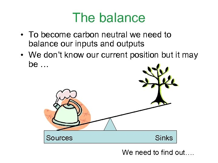 The balance • To become carbon neutral we need to balance our inputs and