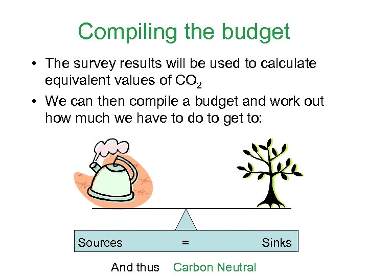 Compiling the budget • The survey results will be used to calculate equivalent values