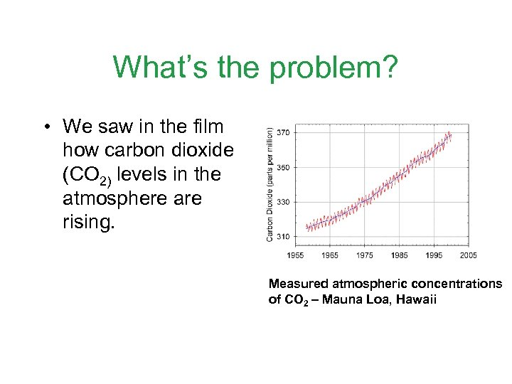 What's the problem? • We saw in the film how carbon dioxide (CO 2)