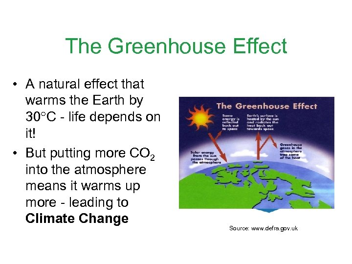The Greenhouse Effect • A natural effect that warms the Earth by 30 C