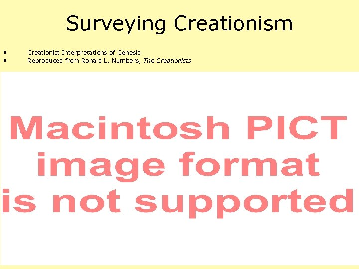 Surveying Creationism • • Creationist Interpretations of Genesis Reproduced from Ronald L. Numbers, The