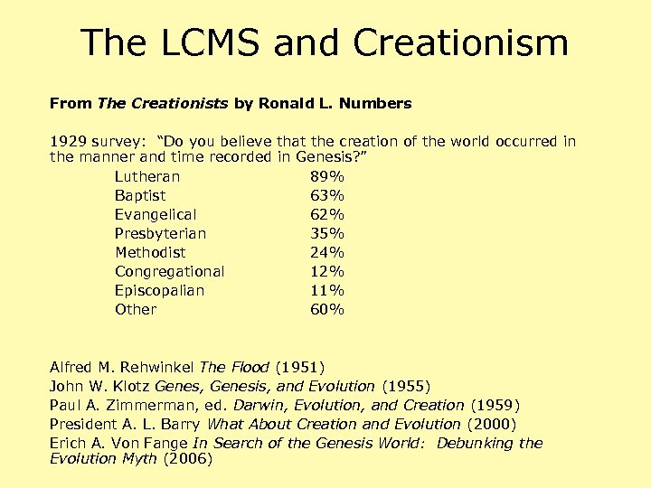 """The LCMS and Creationism From The Creationists by Ronald L. Numbers 1929 survey: """"Do"""