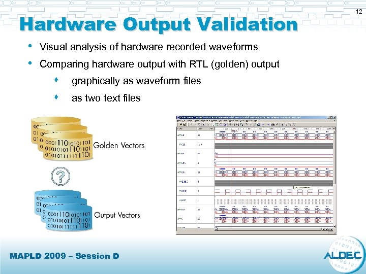 Hardware Output Validation • Visual analysis of hardware recorded waveforms • Comparing hardware output
