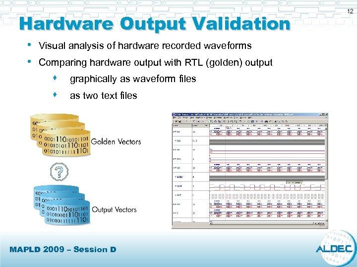 Hardware Output Validation • Visual analysis of hardware recorded waveforms • Comparing hardware output