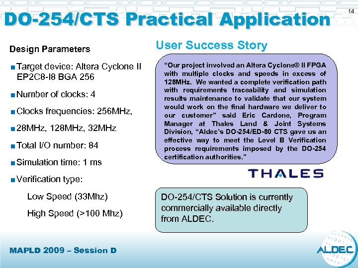 DO-254/CTS Practical Application Design Parameters <Target device: Altera Cyclone II EP 2 C 8