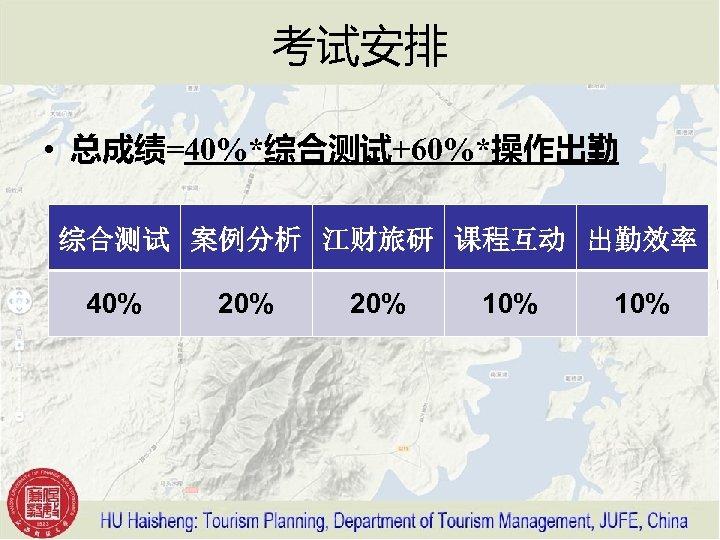 考试安排 • 总成绩=40%*综合测试+60%*操作出勤 综合测试 案例分析 江财旅研 课程互动 出勤效率 40% 20% 10%