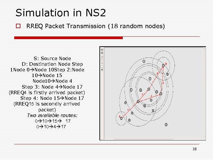 Simulation in NS 2 o RREQ Packet Transmission (18 random nodes) S: Source Node