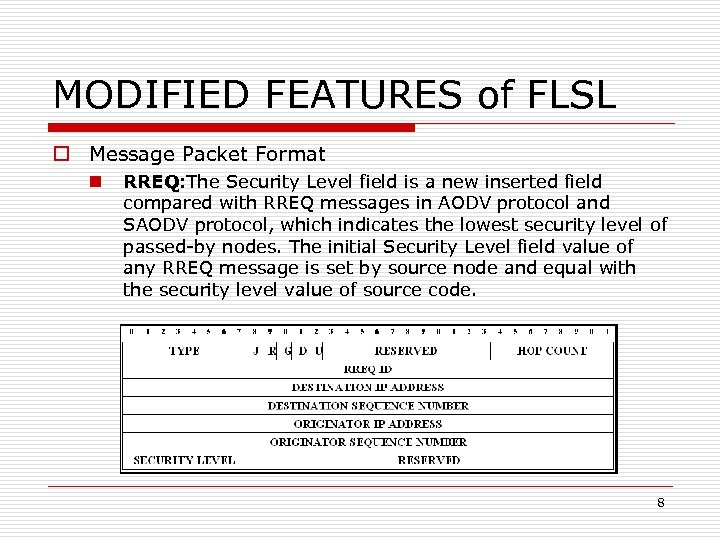 MODIFIED FEATURES of FLSL o Message Packet Format n RREQ: The Security Level field