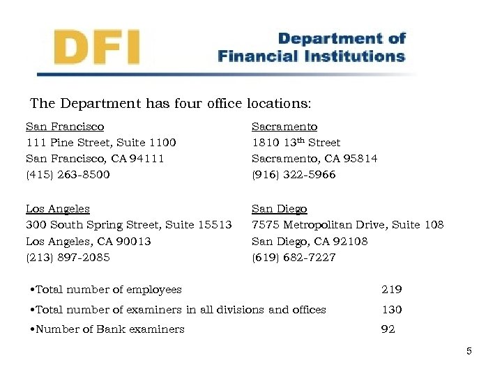 The Department has four office locations: San Francisco 111 Pine Street, Suite 1100 San