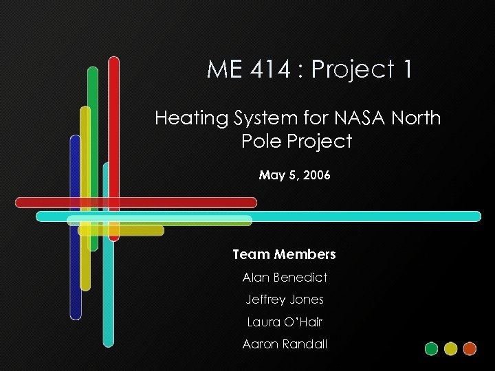 ME 414 : Project 1 Heating System for NASA North Pole Project May 5,