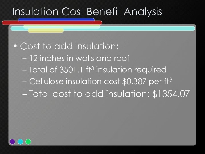 Insulation Cost Benefit Analysis • Cost to add insulation: – 12 inches in walls