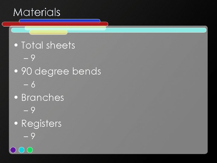 Materials • Total sheets – 9 • 90 degree bends – 6 • Branches