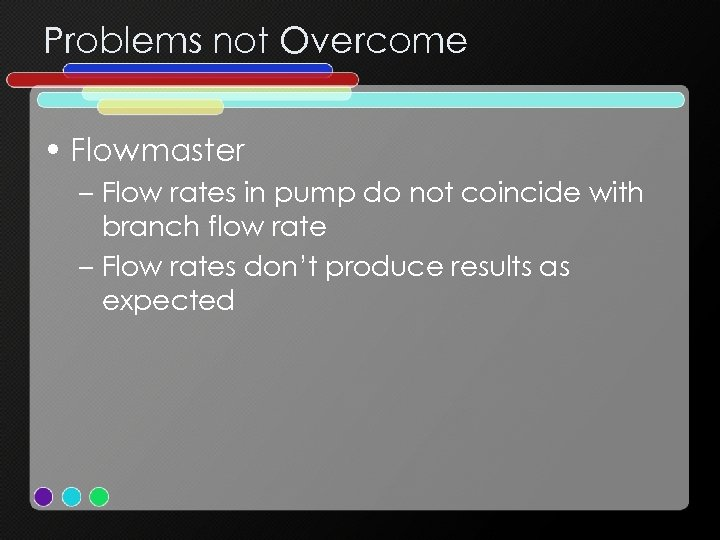 Problems not Overcome • Flowmaster – Flow rates in pump do not coincide with
