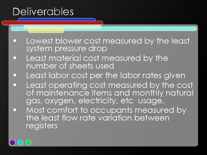 Deliverables • • • Lowest blower cost measured by the least system pressure drop