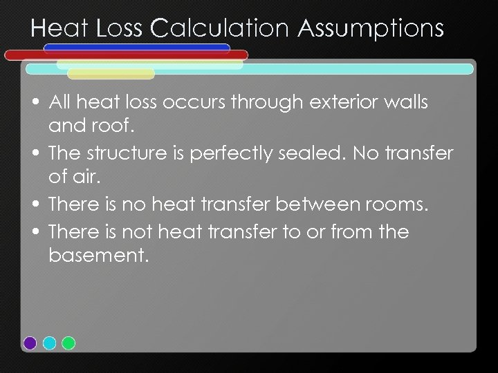 Heat Loss Calculation Assumptions • All heat loss occurs through exterior walls and roof.