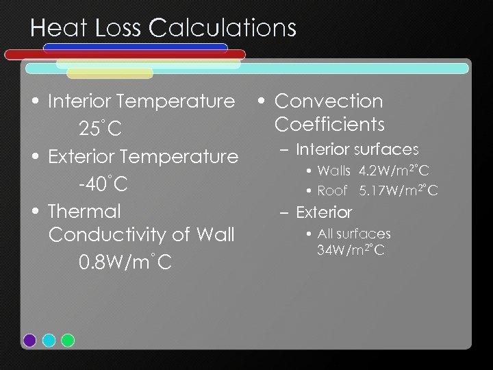Heat Loss Calculations • Interior Temperature • Convection Coefficients 25˚C – Interior surfaces •