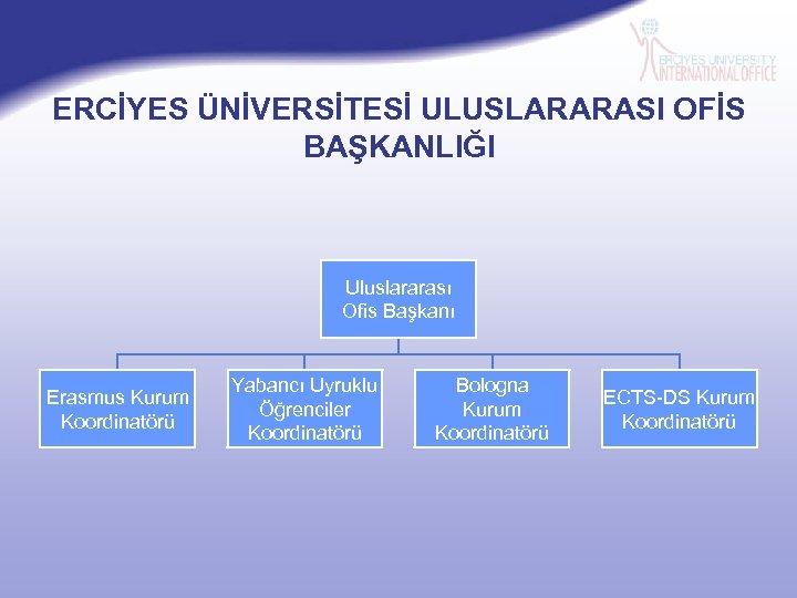 ERCİYES ÜNİVERSİTESİ ULUSLARARASI OFİS BAŞKANLIĞI Uluslararası Ofis Başkanı Erasmus Kurum Koordinatörü Yabancı Uyruklu Öğrenciler