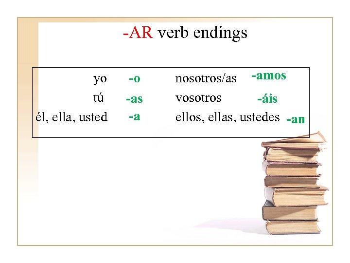-AR verb endings yo tú él, ella, usted -o -as -a nosotros/as -amos vosotros